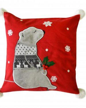 vianočná dekoracna obliečka medved červena 40x40
