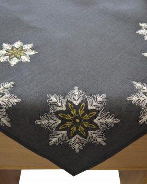 Vianočný obrus vyšívaný Hviezda sivý