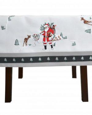 Dekoračný vianočný obrus vyšívaný Santa