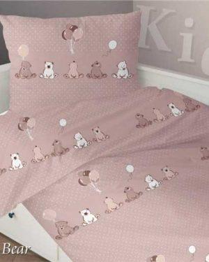 Detské saténové obliečky Medvedík – bežová 140×200, 70×90