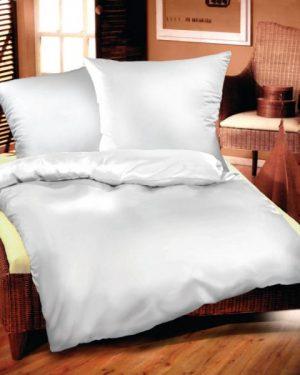 Jednofarebné obliečky bavlnený satén biele 220x200
