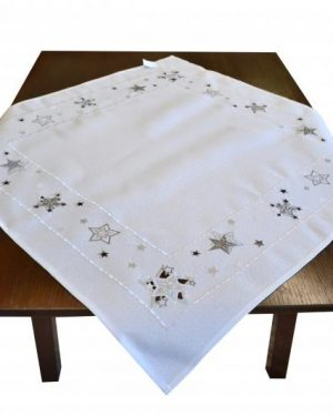 Vianočný obrus Hviezdičky biely