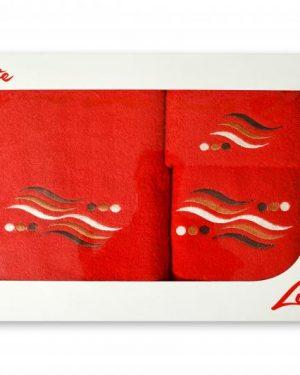 komplet uterakov vlnky cervena