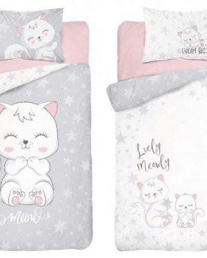 Bambusové posteľné obliečky do postieľky Mačička sivá