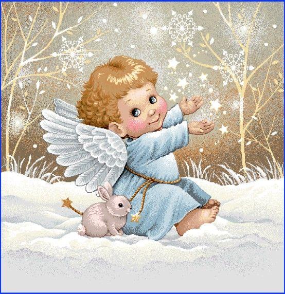 Gobelínová dekoračná obliečka vianočná Anjelik II.