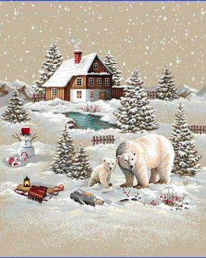 Gobelínová dekoračná obliečka vianočná Domček