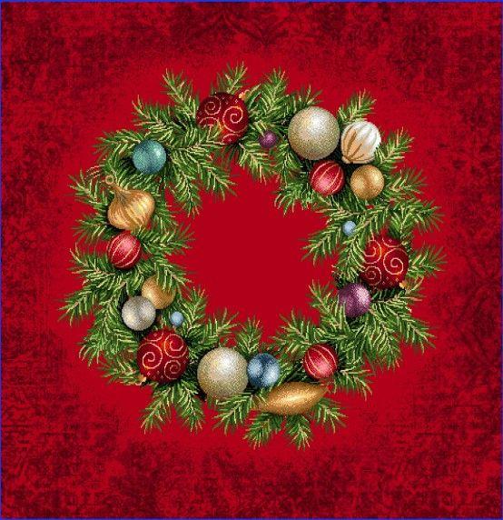 Gobelínová dekoračná obliečka vianočná Veniec červená