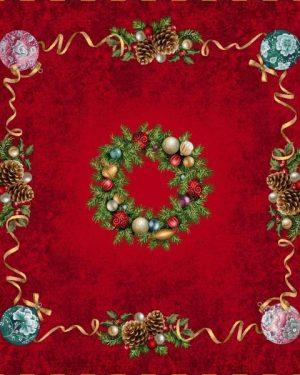 Vianočné gobelinové obrusy Veniec červené