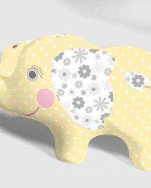 dekoračný vankušik slonik žltý
